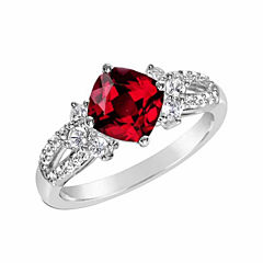 Womens Lab Created Ruby Sterling Silver Cocktail Ring