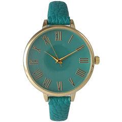 Olivia Pratt Womens Gold-Tone Teal Leather Strap Watch 14095
