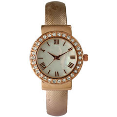 Olivia Pratt Womens  Gold-Tone White Dial Coral Leather Strap Watch 14164