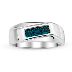 Mens 1/8 CT. T.W. Color-Enhanced Blue Diamond Sterling Silver Ring