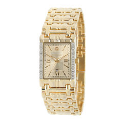 Personalized Dial Mens Diamond-Accent Square Gold-Tone Watch