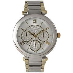 Olivia Pratt Womens Two-Tone Rhinestone Accent Dial Bracelet Watch 15140 15140Twotone