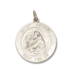 Sterling Silver Round Saint Anthony Medal Charm Pendant