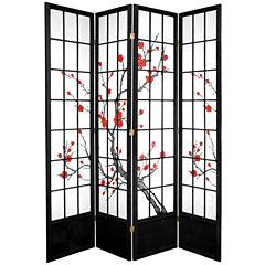 Oriental Furniture 7' Cherry Blossom 4 Panel RoomDivider
