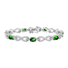 Womens Simulated Emerald & Lab-Created White Sapphire Sterling Silver 7 1/2 Inch Chain Bracelet