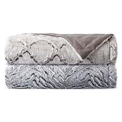 Royal Velvet Carved Luxury Faux Fur Throw
