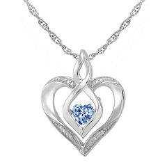 Love in Motion™ Simulated Aquamarine and Diamond-Accent Heart Pendant Necklace