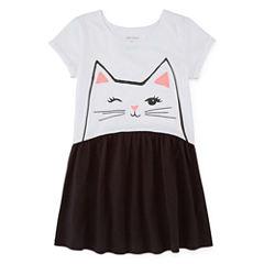 Okie Dokie Short Sleeve Babydoll Dress - Toddler Girls