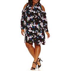 Worthington Long Sleeve Cold Shoulder Sheath Dress-Plus