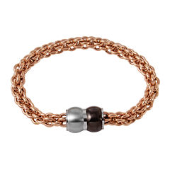 Mens Rose Ion-Plated Stainless Steel Braided Chain Bracelet