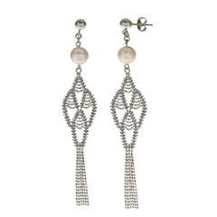 8-8.5Mm Cultured Freshwater Pearl Sterling Silver Earrings