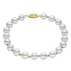 7-7.5Mm Cultured Freshwater Pearl Sterling Silver Bracelet
