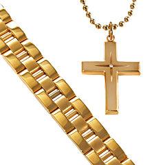Men's Gold-Plated Stainless Steel Cross & Bracelet in Valet Box