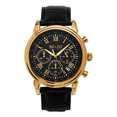 SO & CO NY Mens Gold-Tone Monticello Leather Dress Quartz Watch J154P84