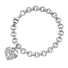 Womens 1/8 CT.T.W.  Diamond Sterling Silver Heart Charm Bracelet