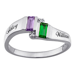 Personalized Diamond-Accent Couple's Name Birthstone Ring