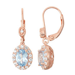 Lab-Created Aquamarine & White Sapphire Diamond Accent 14K Rose Gold Over Silver Leverback Earrings