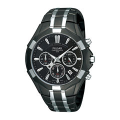 Pulsar® Mens Black and Silver-Tone Chronograph Watch  PT3289