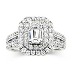 Modern Bride® Signature 1¾ CT. T.W. Certified White & Color-Enhanced Blue Diamond Ring