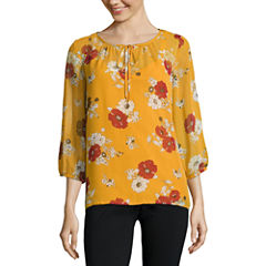 Alyx 3/4 Sleeve Round Neck Woven Floral Blouse