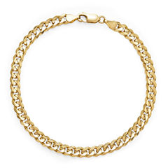 Made in Italy 14K Yellow Gold Solid 8.5 In Curb Link Bracelet