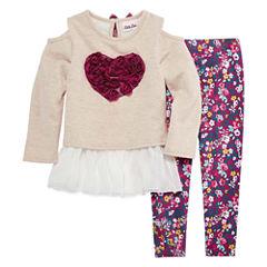 Little Lass Cold Shoulder Heart Graphic 2-pc. Legging Set- Preschool Girls