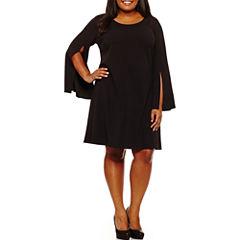 Worthington Long Sleeve Sheath Dress-Plus