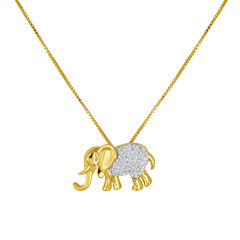1/10 CT. T.W. Diamond 14K Yellow Gold Over Sterling Silver Elephant Pendant Necklace