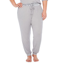 Ambrielle Satin Inset Jogger Pajama Pants-Plus