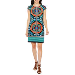 R & K Originals Short Sleeve Medallion Shift Dress