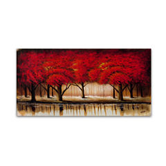 Parade of Red Trees Canvas Wall Art