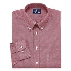 Stafford Travel Wrinkle-Free Oxford Long Sleeve Woven Dress Shirt Big & Tall