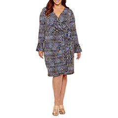 London Times Long Sleeve Geometric Wrap Dress-Plus