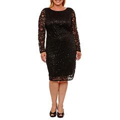 Blu Sage Long Sleeve Sheath Dress-Plus