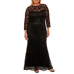 Blu Sage 3/4 Sleeve Evening Gown-Plus