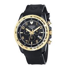 Swiss Eagle® Landmaster Mens Black Dial Black Silicone Strap Chronograph Watch SE-9044-05