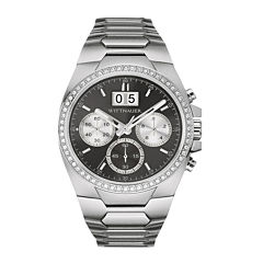Wittnauer® Mens Crystal-Accent Gunmetal Dial Stainless Steel Watch WN3049