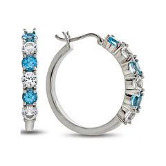Genuine Blue Topaz And Lab Created White Sapphire Sterling Silver Hoop Earrings