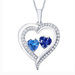 Love in Motion™ Lab-Created Blue And White Sapphire Sterling Silver Double Heart Pendant Necklace