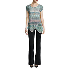 Alyx® Cap-Sleeve Tunic Top with Necklace or Straight-Leg Millennium Pants
