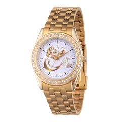 Disney Princess Ariel The Little Mermaid Womens Gold Tone Bracelet Watch-Wds000168