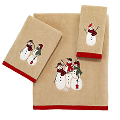 Avanti Snowman Gathering Embroidered Bath Towel Collection