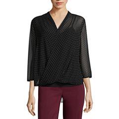 Liz Claiborne 3/4 Sleeve V Neck Woven Dots Blouse