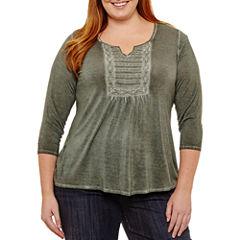 Unity World Wear 3/4 Sleeve Washed Knit Blouse - Plus