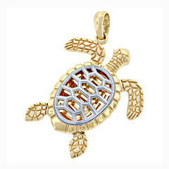 14K Two-Tone Gold Turtle Charm Pendant