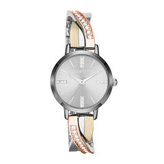 Liz Claiborne Womens Tri-Tone & Crystal-Accent Twisted Bangle Watch