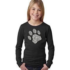 Los Angeles Pop Art Dog Paw Long Sleeve Graphic T-Shirt Girls