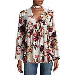 A.N.A Long Sleeve V Neck Woven Floral Blouse