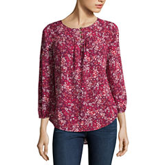 St. John's Bay Easy Care 3/4 Sleeve Floral Peasant Top Petites