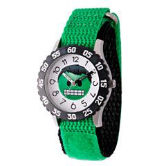 Emoji Marvel Boys Green Strap Watch-Wma000084